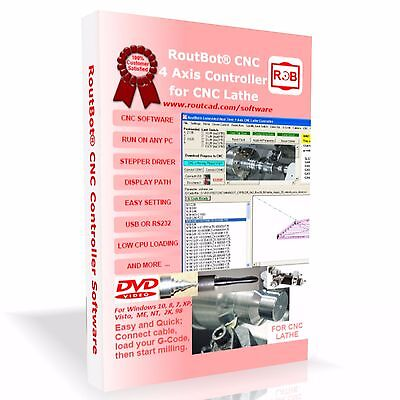 CNC Lathe Control Software for 4 Axis Step Motor Using PC Parallel Port CD+FLP