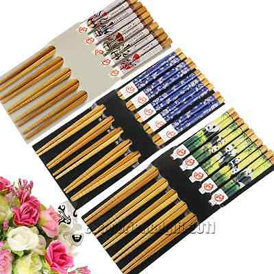 Lots 5pairs Chinese Handmade Vintage Wooden Chopsticks Simple Packaging