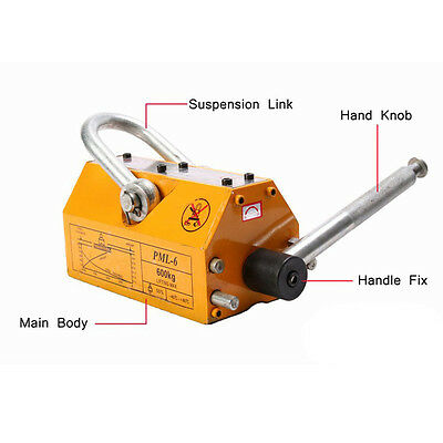 Top 600kg Steel Lifting Magnet Heavy Duty 1320lb Magnetic Lifter Hoist Crane