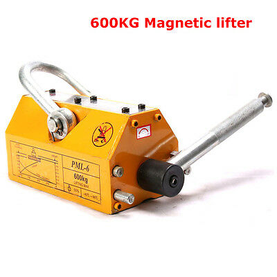 600kg Steel Lifting Magnet Heavy Duty 1320lb Magnetic Lifter Hoist Crane