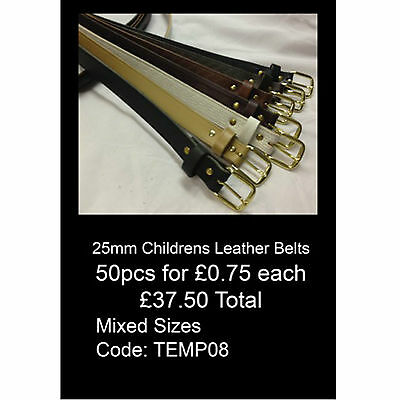 Wholesale Offer Of 25mm Childrens Size Real Leather Belts Made In England TEMP08
