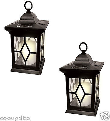 2 X Solar Powered Hanging Candle Lantern Garden Table Lamp Outdoor Coach Light