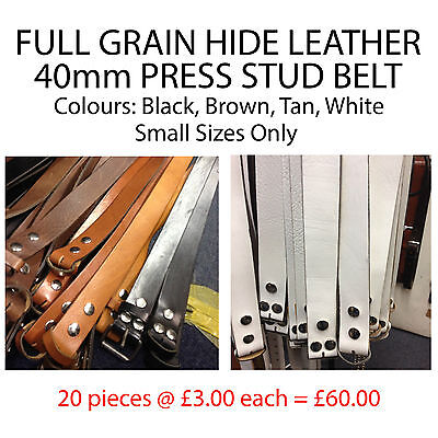 Wholesale Lot of 40mm Press Stud Full Grain Hide Leather Belts Made In UK TEMP12