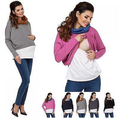 Zeta Ville - Women's breastfeeding top sweatshirt cowl neck nursing panel - 795c