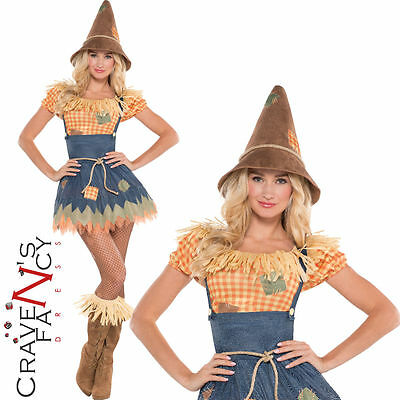 Adult Sultry Scarecrow Costume Sexy Ladies Fancy Dress Outfit UK 8-20 New