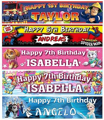 Personalised Kids Birthday Party Banners Celebrate Characters Hanging Decoration