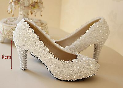 WHITE IVORY Lace Flower bridal high heel wedding shoes low heel flat bridesmaid