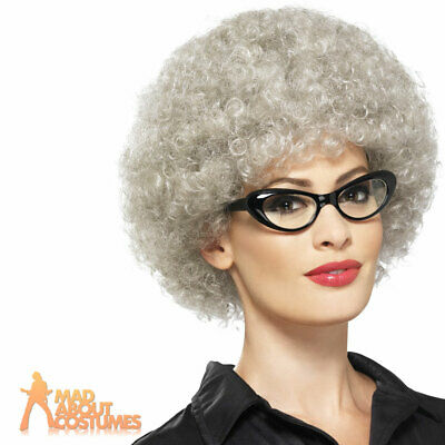 Adult Granny Perm Wig Grey Afro Old Lady Fancy Dress Costume Accessory New