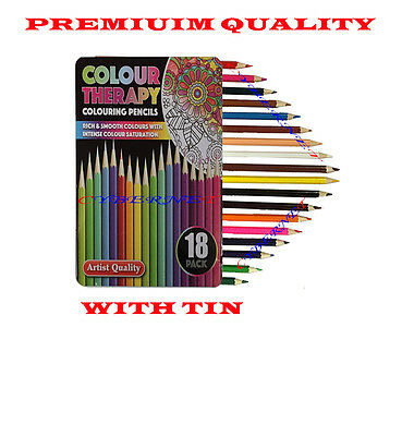 18 x PREMIUM Artist Quality Adult /Child Colouring Pencils with Tin