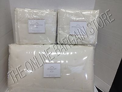 Pottery Barn Essentials Bed Quilt Full Queen FQ Shams Standard Ivory Voile
