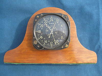"Vintage WWII ""WALTHAM"" Civil Date Aircraft Aeronautical Clock CDIA in Wood Case"
