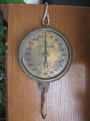 Vintage CHATILLON Hanging Industrial Hoist Scale, 200 lb Capacity, Brass Face