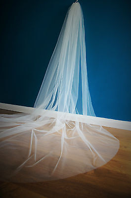 3 M Wide Wedding Veil *Cathedral Length*Made to Order*Off white/ Ivory*Cut Edge*