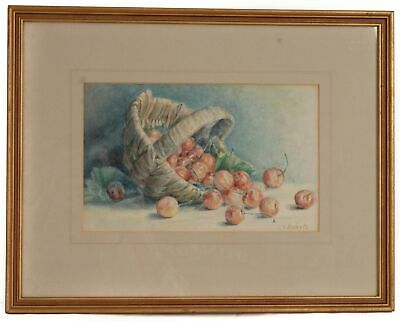 Watercolour Picture of Cherries in a Wicker Basket by V Roberts