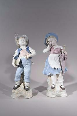 Large & Beautiful Pair of Meissen Style European Porcelain Figures