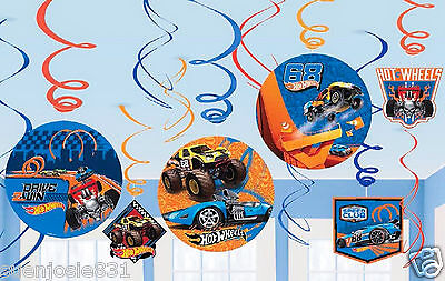 Hot Wheels Wild Racer Swirl Decorations Ceiling Hanging Danglers Party Supplies