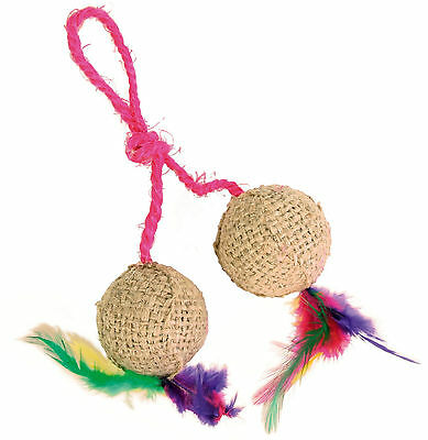 2 Jute Balls on Rope with Feathers & Catnip Cat Kitten Play Scratch Toy