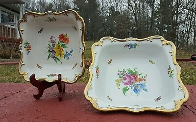 Set of 2 Sitzendorf Square porcelain dishes with Butterfly and Flower design