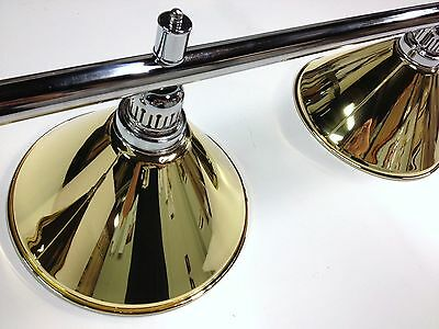 Large QUALITY Pool Snooker Billiard Table Light Chrome with 4 x Brass Shades