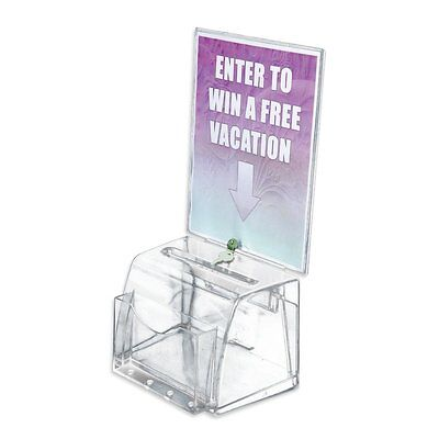 Azar Large Moulded Suggestion Box With Pocket Lock and Key Clear 206009