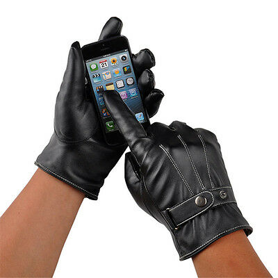 Black Winter Leather Motorcycle Full Finger Touch Screen Warm Gloves Fashion BO