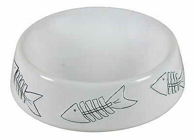 White Ceramic Cat Bowl with Fish Bone Design 0.25L