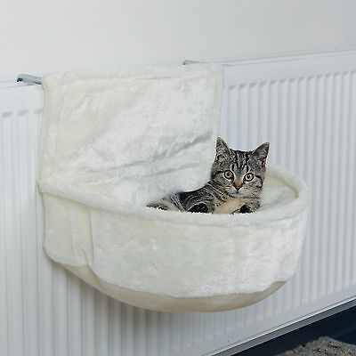 White Radiator Bed for Cats Cuddly Plush Resting Bag with Cushion & Frame