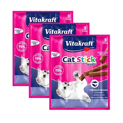 NEW 9pcs Vitakraft Cat Stick Mini Cod & Pollock 18g - Made in Germany