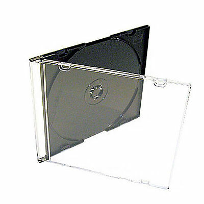 50 X CD DVD Slimline Jewel 5.2mm Cases for 1 Disc With Black Tray Pack of 50