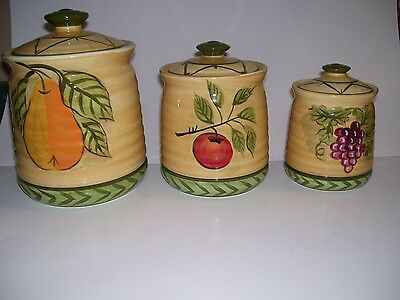 Canister Set Tuscan Fruit Grape Kitchen 3 Pc Kitchen Canisters NEW