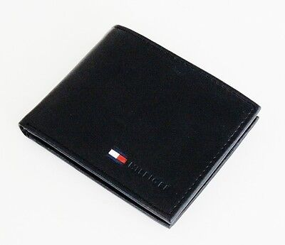 New Tommy Hilfiger Stockton Black Leather Card Billfold Id Men's Coin Wallet