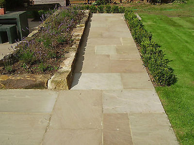 Natural Indian Sandstone Patio Paving Stone Slabs Flag Raj Green / Autumn / Grey