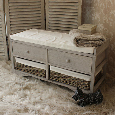 grey wooden wicker basket storage bench vintage style country home furniture