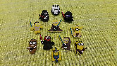 MINIONS STAR WARS shoe charms/cake toppers!! Lot of 11!! FAST USA SHIPPING!