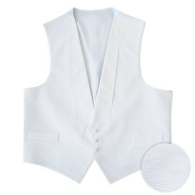 NEW Men's Medium Full back White Cotton Pique Tuxedo Vest Tux Pre Tied Bow