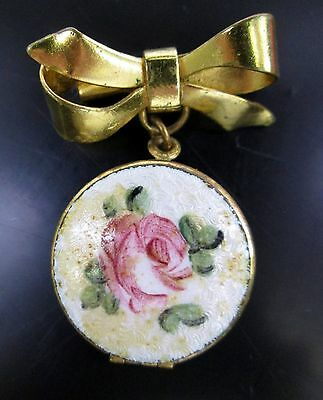Vintage Pink Rose Enamel Guilloche Gold-Tone Round Photo Locket Brooch Pin