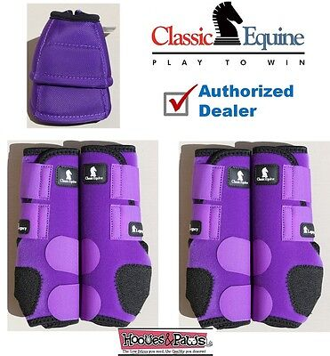 SMALL Purple CLASSIC EQUINE Front Rear Legacy Sport Horse Leg No Turn Bell Boots