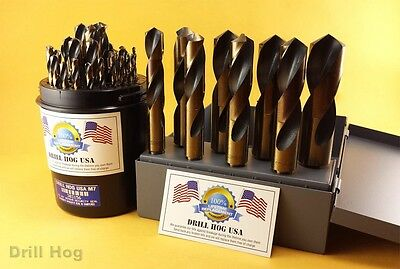 "37 Pc Silver Deming Drill Bit Set 1/16"" to 1"" M7 Lifetime Warranty Drill Hog USA"
