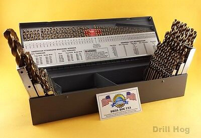 Drill Hog USA 115 Pc Drill Bit Set Letter Number COBALT M42 Lifetime Warranty