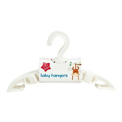 PACK OF 5 Baby WHITE Clothes Coat Hangers Space Savers Nursery Wardrobe Unisex