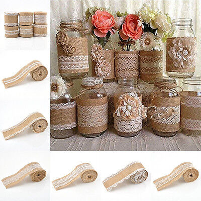 1 Roll Vintage Lace Edged Hessian Burlap Ribbon Rustic Wedding Party Decor