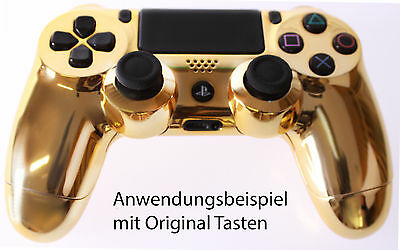 Playstation PS4 Controller Case Hülle Gehäuse Chrome Modding Cover Gold