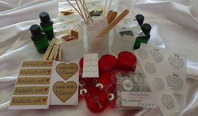Candle making kit 6 x Danube Frosted Jars/Lids & all you need, oils colour etc.