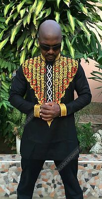Odeneho Wear Men's Black Polished Cotton Top/Embroidery. African Clothing.