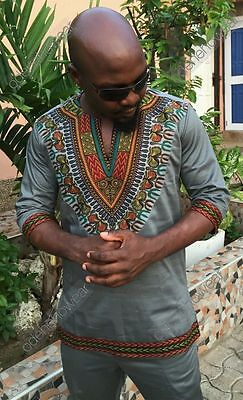 Odeneho Wear Men's Grey Polished Cotton Top With Dashiki. African Clothing