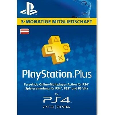 AT Playstation Plus 90 Tage (3 Monate) Karte Card Sony PSN Live Plus Code Key