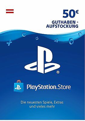 AT PSN Network Card 50€ EUR - 50 Euro Playstation Prepaid Key Sony PS3 PS4 PSP