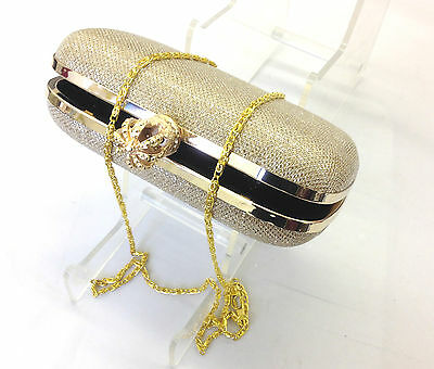 New Fashion Ladies Women Clutch Box Evening Party Glitter Chain Hand Bags Wallet