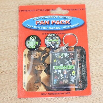 Green Day Los Dios Verde Badge Keyring Sticker Fan Pack New Official Band Merch