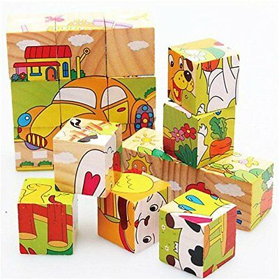 Wooden Animals 3D Puzzle Blocks Jigsaw Early Education Baby Developmental Toy